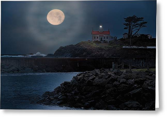 Going Down Greeting Cards - Moon over Battery Point Greeting Card by James Heckt