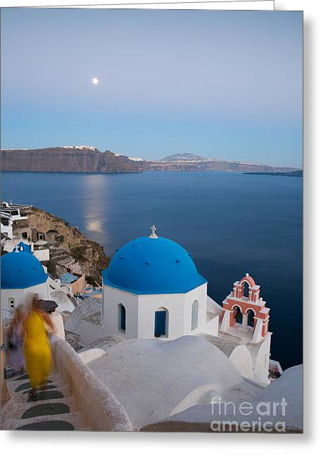 Cupola Greeting Cards - Moon over blue domed church in Oia Santorini Greece Greeting Card by Matteo Colombo