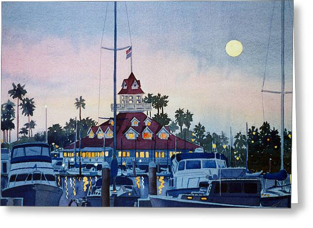Southern Scene Greeting Cards - Moon over Coronado Boathouse Greeting Card by Mary Helmreich