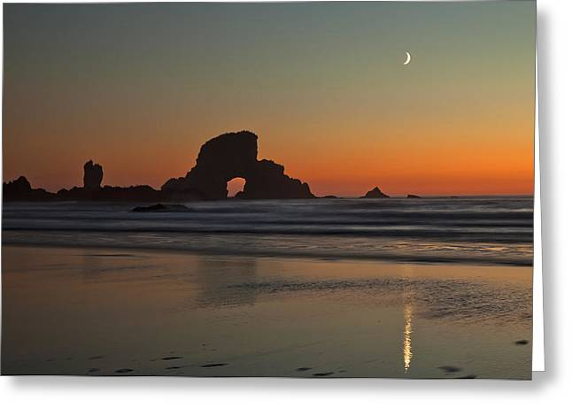 State Parks In Oregon Greeting Cards - Moon over Ecola Beach Greeting Card by Ross Murphy