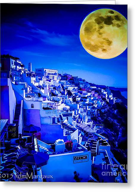 Sea Moon Full Moon Greeting Cards - Moon Over Fira Santorini Greeting Card by  rdm-Margaux Dreamations