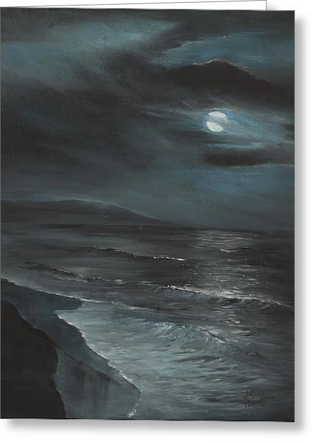 Moon Over Folly Greeting Card by Jennifer Ashe Thompson