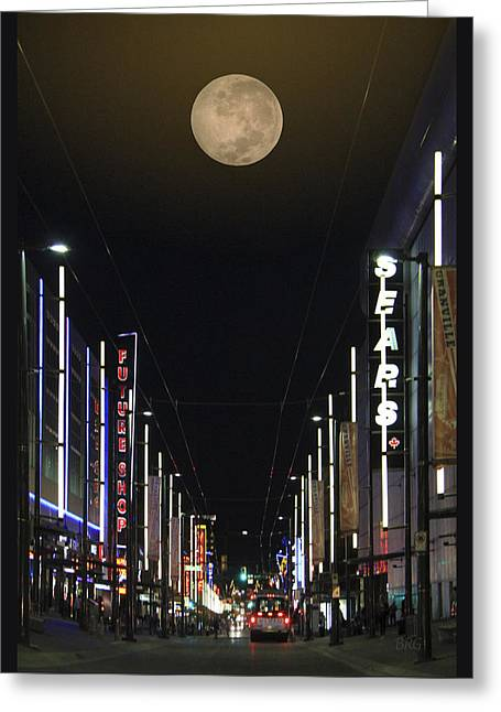 Contemporary Night Scape Greeting Cards - Moon Over Granville Street Greeting Card by Ben and Raisa Gertsberg