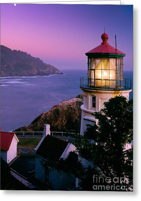 Ocean Shore Greeting Cards - Moon over Heceta Head Greeting Card by Inge Johnsson