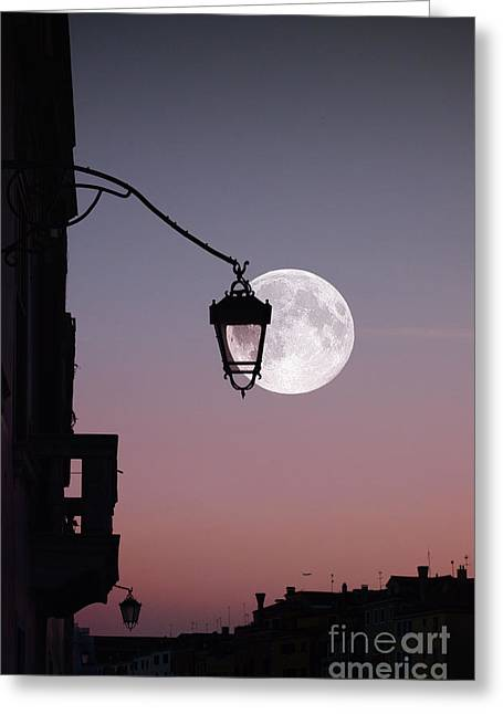 Northern Italy Greeting Cards - Moon over Italy Greeting Card by Sabine Jacobs