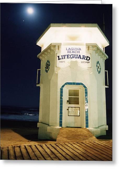 Recently Sold -  - Moon Beach Greeting Cards - Moon Over Laguna Beach Greeting Card by John Loyd Rushing