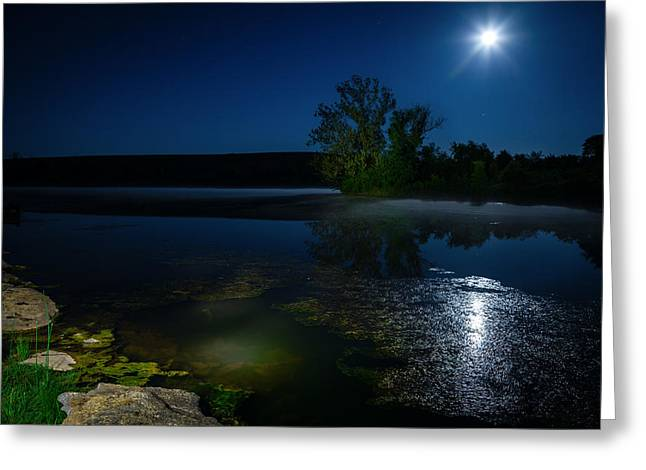 Moonrise Greeting Cards - Moon over lake Greeting Card by Alexey Stiop