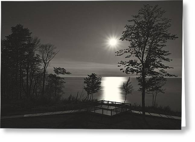 Dereske Greeting Cards - Moon over Lake Michigan in  Black and White Greeting Card by Mary Lee Dereske