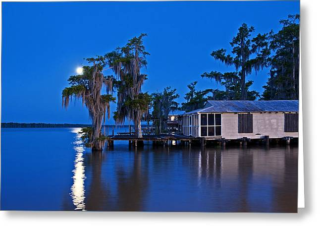 Swamp Greeting Cards - Moon over Lake Verret Greeting Card by Andy Crawford
