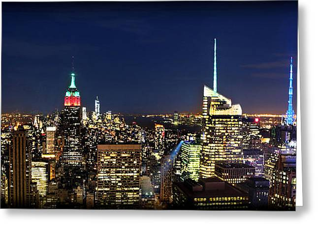 Moon Over Manhattan At Twilight Greeting Card by Lee Dos Santos