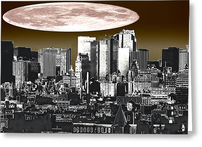 Moon Over Manhattan Greeting Card by Kellice Swaggerty