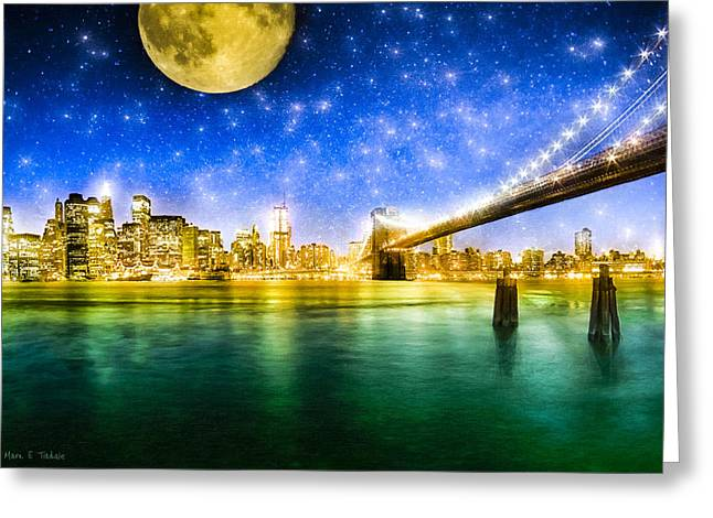 Moon Over Manhattan Greeting Card by Mark Tisdale