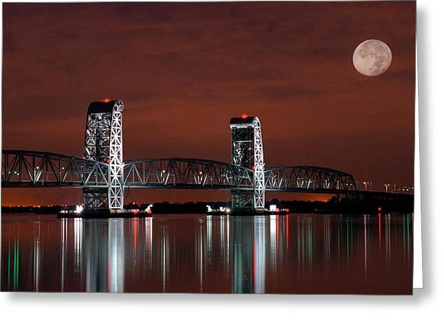 Tilden Greeting Cards - Moon over Marine Parkway Bridge - Gil Hodges Memorial Bridge Greeting Card by Gary Heller