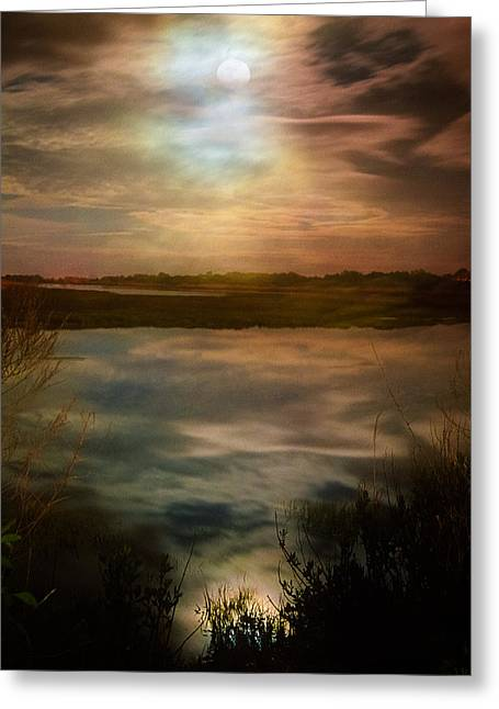 Mysterious Greeting Cards - Moon over marsh - 35mm film Greeting Card by Gary Heller