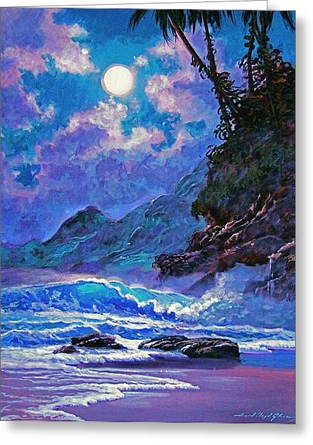 ; Maui Greeting Cards - Moon over Maui Greeting Card by David Lloyd Glover