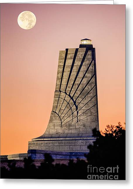 The North Pyrography Greeting Cards - Moon over Memorial Greeting Card by Dan Waters