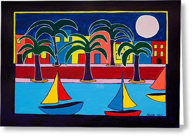 Best Sellers -  - Yellow Sailboats Greeting Cards - Moon Over Miami Greeting Card by Marlene MALKA Harris