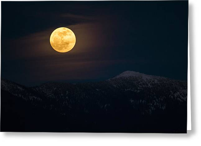Apgar Greeting Cards - Moon over Mission Mountains Greeting Card by Jessie Mazur