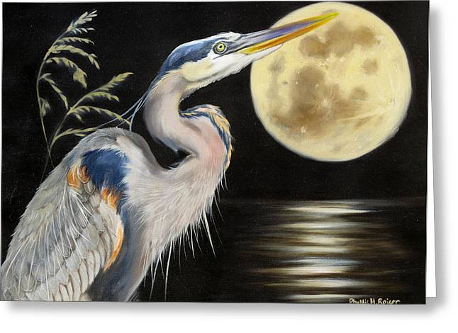 Sea Moon Full Moon Greeting Cards - Moon Over Mississippi A Great Blue Herons Perspective Greeting Card by Phyllis Beiser
