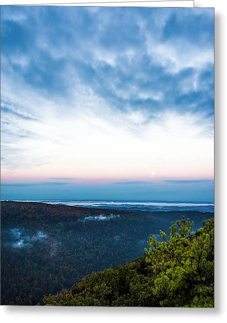 Mountain Valley Greeting Cards - Moon Over Morgantown - Landscape - Sunrise Greeting Card by Sharon Norman