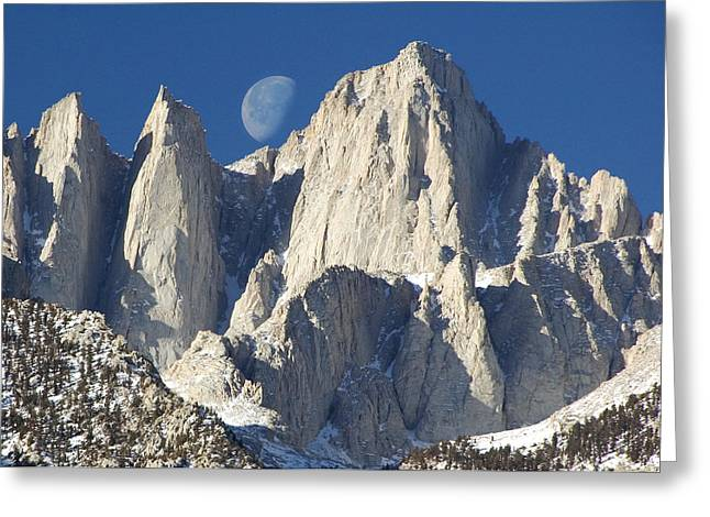 Mt Greeting Cards - Moon over Mt Whitney Greeting Card by Keith Marsh