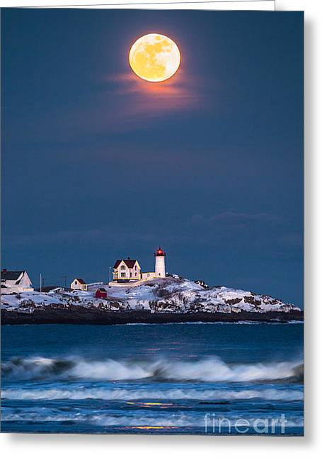 New England Winter Greeting Cards - Moon Over Nubble Greeting Card by Benjamin Williamson