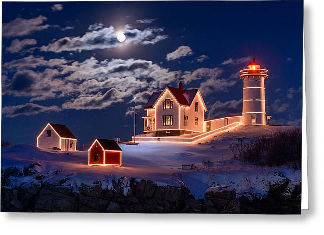 New England Lighthouse Photographs Greeting Cards - Moon over Nubble Greeting Card by Michael Blanchette