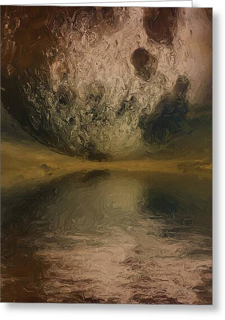 Planetary Greeting Cards - Moon over Ocean Greeting Card by Ayse Deniz