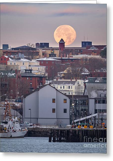 Seascape. Winter Greeting Cards - Moon Over Portland Greeting Card by Benjamin Williamson