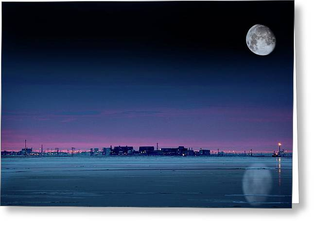 Moon Over Prudhoe Bay Greeting Card by Chris Madeley