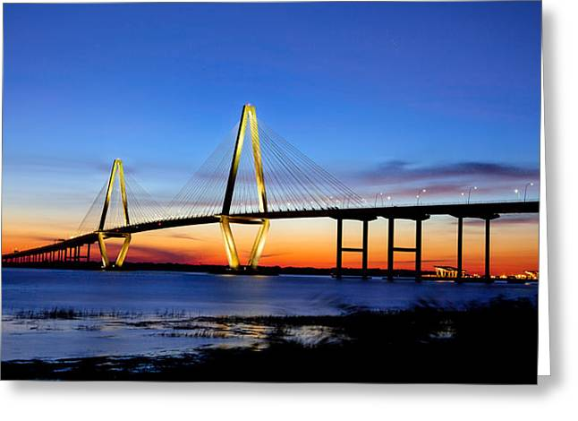 Moon River Greeting Cards - Moon over Ravenel Greeting Card by Walt  Baker