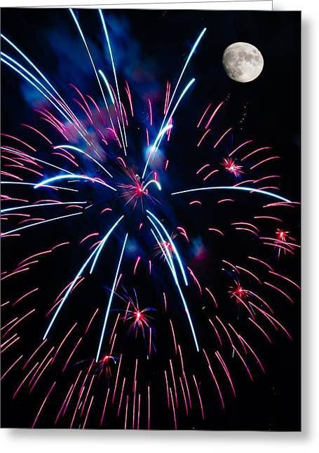 Pyrotechnics Greeting Cards - Moon over Red White and Blue Starburst- July Fourth - Fireworks Greeting Card by Penny Lisowski