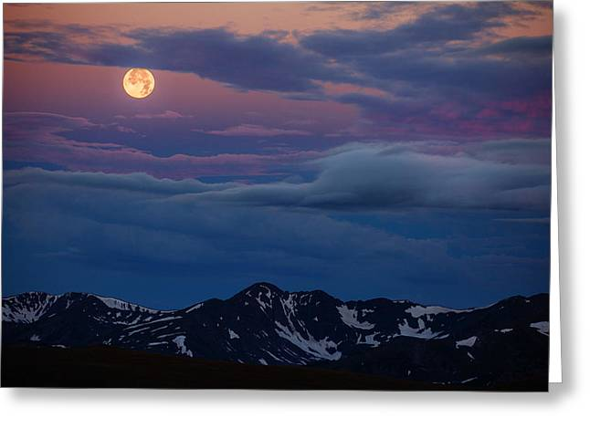 Rocky Mountains Greeting Cards Greeting Cards - Moon Over Rockies Greeting Card by Darren  White