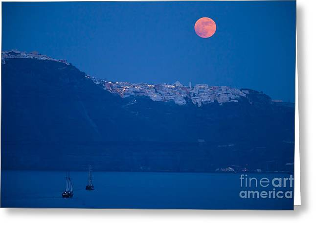 Moonlit Night Greeting Cards - Moon Over Santorini Greeting Card by Brian Jannsen