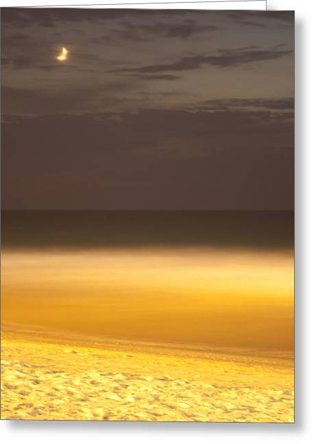 Yafo Greeting Cards - Moon Over Sea Greeting Card by Boaz Torfstein