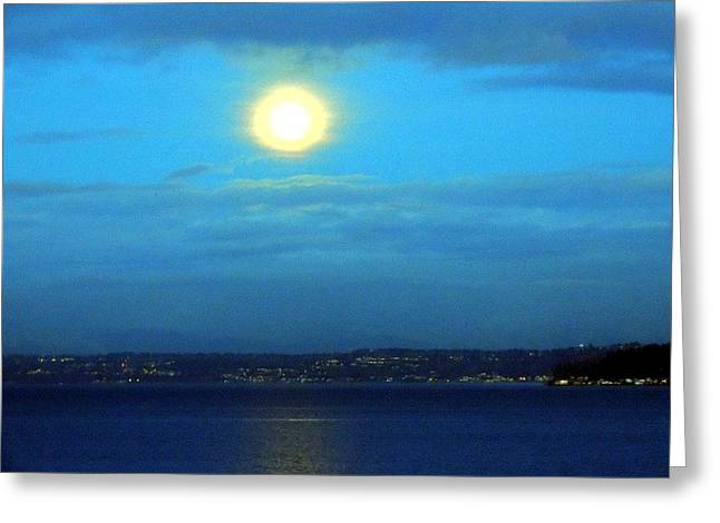 Keith Rautio Greeting Cards - Moon Over Seattle Greeting Card by Keith Rautio