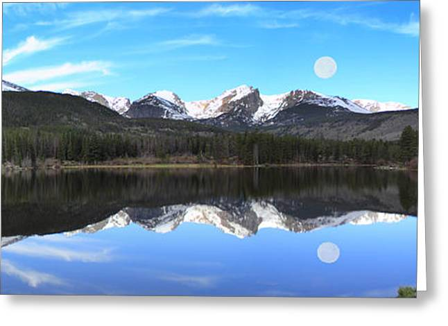 Moon Over Sprague Lake Greeting Card by Shane Bechler