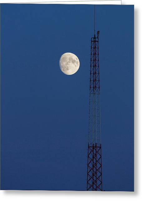 Telecommunications Greeting Cards - Moon Over Telecommunications Tower Greeting Card by Panoramic Images