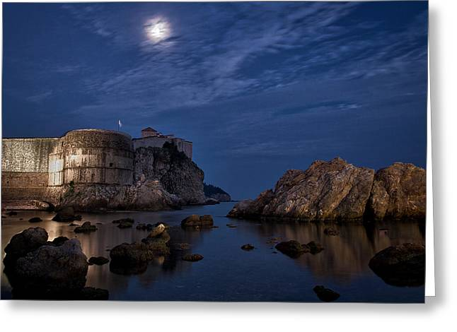 Sea Moon Full Moon Greeting Cards - Moon over the Bay - Dubrovnik Greeting Card by Stuart Litoff