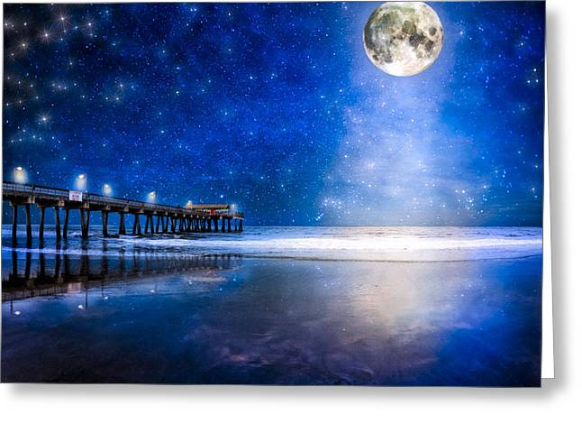 Beach At Night Greeting Cards - Moon Over The Beach At Tybee Island Greeting Card by Mark Tisdale