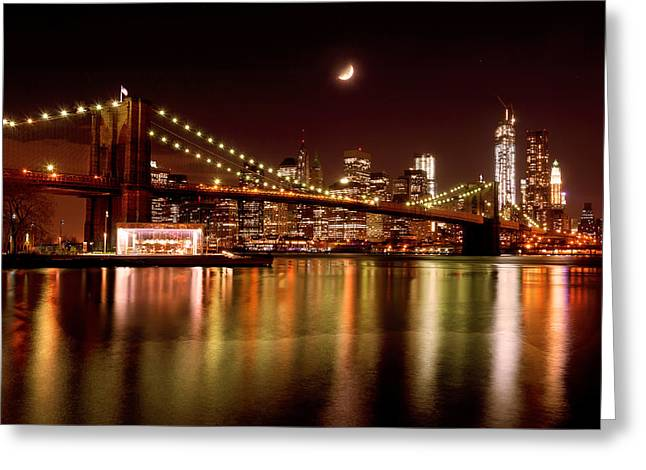 Nikon D90 Greeting Cards - Moon Over the Brooklyn Bridge Greeting Card by Mitchell R Grosky