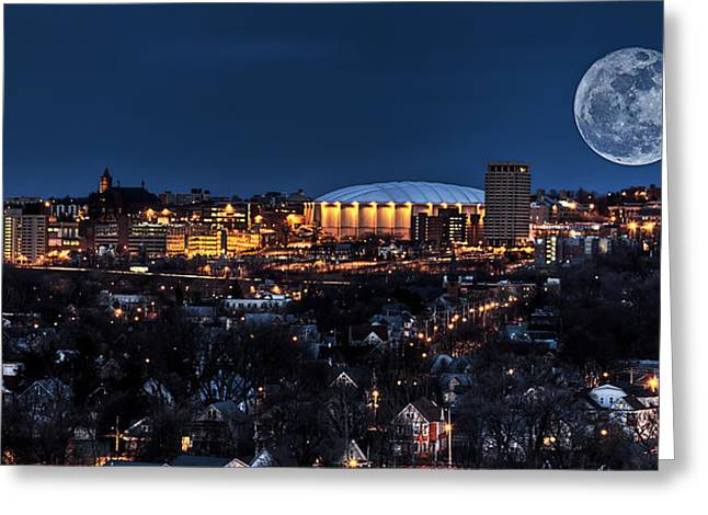 Landscape Posters Greeting Cards - Moon Over the Carrier Dome Greeting Card by Everet Regal