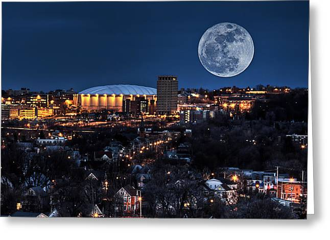 Moon Over The Carrier Dome Greeting Card by Everet Regal