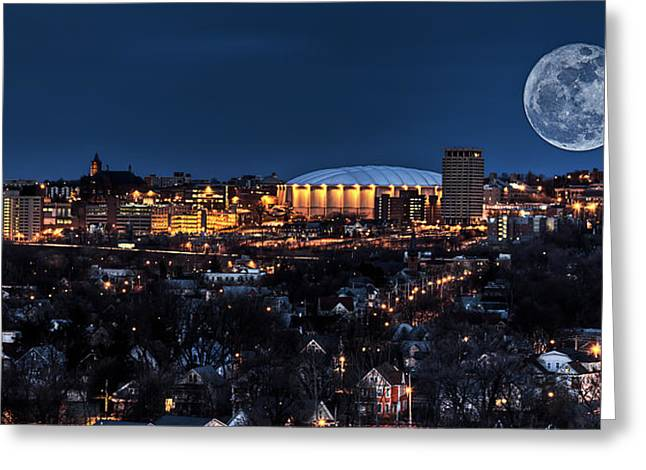 Orange Posters Greeting Cards - Moon Over the Carrier Dome Greeting Card by Everet Regal