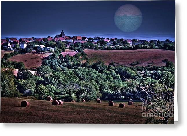 Provence Village Greeting Cards - Moon over the fields Greeting Card by Catherine Arnas