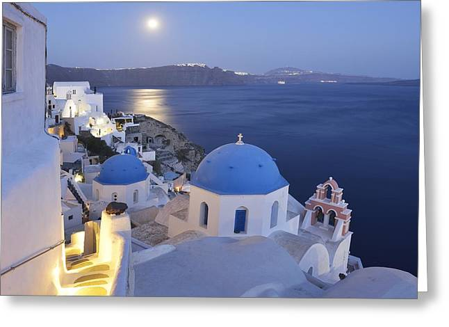 Architecrure Greeting Cards - Moon over the Island Greeting Card by Christian Heeb