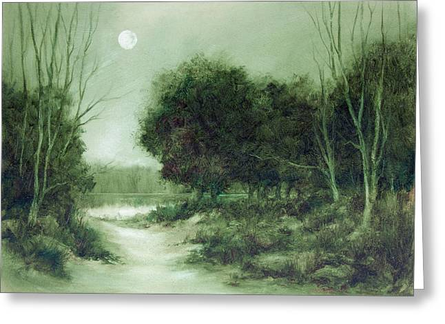 Tradional Greeting Cards - Moon over the Lake Greeting Card by Ann Stringer-Paget