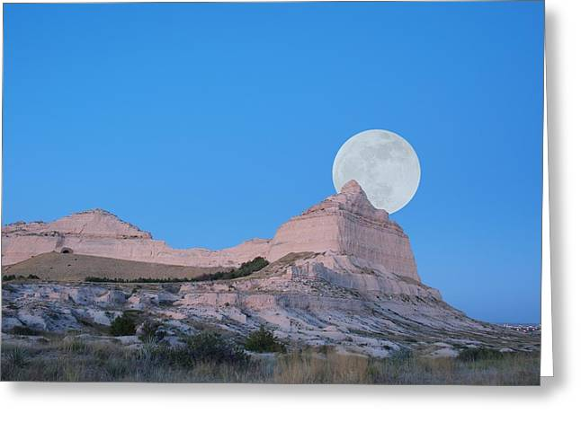 Mitchell Butte Greeting Cards - Moon over the Monument Greeting Card by HW Kateley