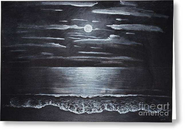 Moon Beach Drawings Greeting Cards - Moon over the Pacific Greeting Card by David Swope