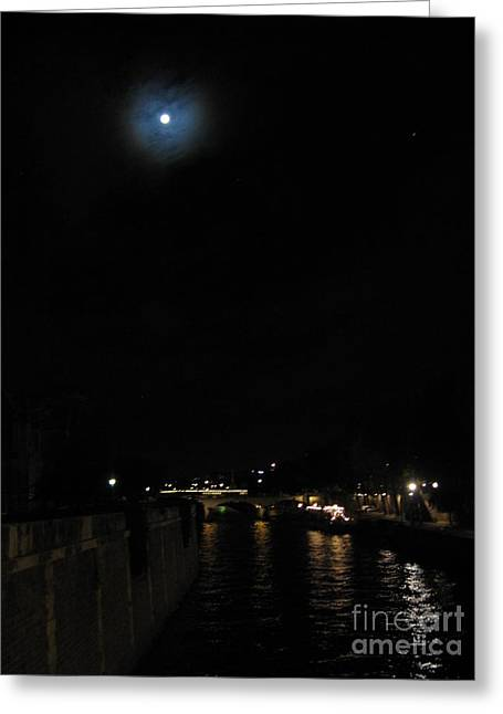 Moonlight On The River Greeting Cards - Moon over the Seine Greeting Card by Lorita Montgomery